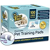 PrincePaws Pet Dog Training Pads - Puppy Pads 100 Count with Adhesive Tape - Large 24x24 - Toilet Potty Pet Pee Pads for Dogs - Cat Litter Pads - Absorbent Waterproof Urine Disposable Dog Pads