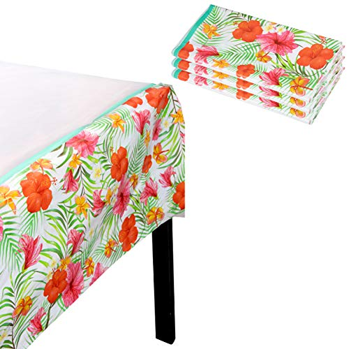 Luau Party Tablecloth - 3-Pack Disposable Plastic Rectangular Table Covers - Hawaiian Themed Party Supplies for Kids Birthday, Tropical Island Party Decoration, Hibiscus Flower Design, 54 x 108 Inches ()