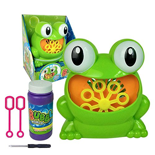[BEST TOY FOR KIDS] Bubble Machine, Automatic Frog Bubble Machine Bubble Leaf Blower Bubble Maker, Over 500 Bubbles Per Minute with Two Bubble Wands Gifts & Bubble Solutio, Easy to Use