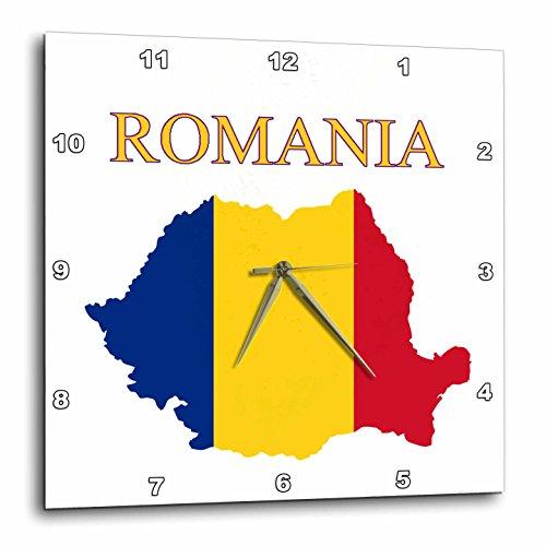 3d Rose imagen de bandera de Rumanía mapa exótico en colores reloj de pared, 10' x 10'