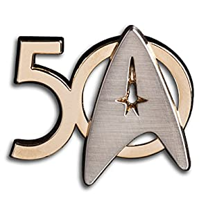 Star Trek 50th Anniversay Die Cut Standing Enamel Pin from Roddenberry NEW UNUSED