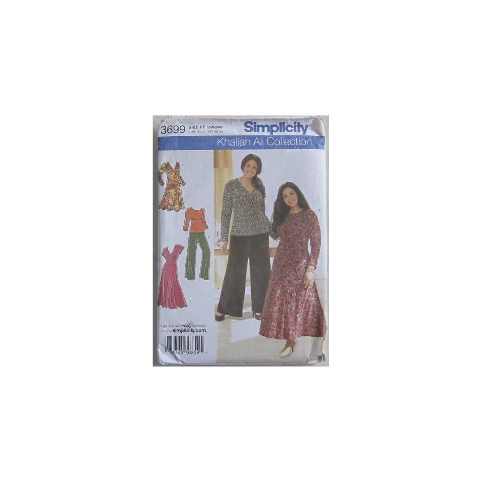Khaliah Ali simplicity 3699 Womens Knit Top Dress Skirt Pants Size GG 26W 32W