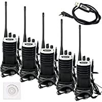 Retevis RT7 3W 16 Channels UHF 400-470MHz FM 2-Way Radio Ham Handheld Transceiver with Earpiece (Silver Black Border, 5 Pack) and Programming Cable