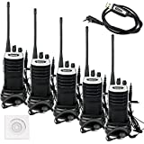 Retevis RT7 Walkie Talkie Rechargeable 3W 16 CH UHF 400-470MHz FM Two Way Radio (Silver Black Border,5 Pack) and Programming Cable