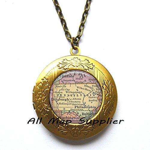 Pennsylvania Antique Map (Charming Locket Necklace,Pennsylvania map Locket Pendant, Pennsylvania Locket Pendant, state map jewelry, Pennsylvania map Locket Necklace,AO152)