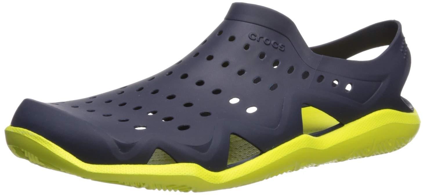 Crocs Men's Swiftwater Wave Sandal Water Shoe, Navy/Citrus, 7 M US by Crocs