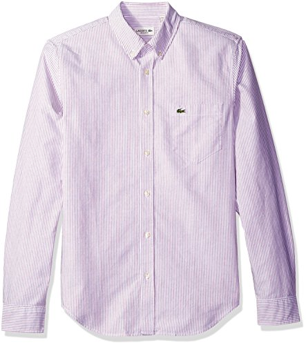 Lacoste Men's Long Sleeve Regular Fit Bd Oxford Bengal Stripe Woven Shirt, Wine/White, - Cotton Shirt Stripe Bengal