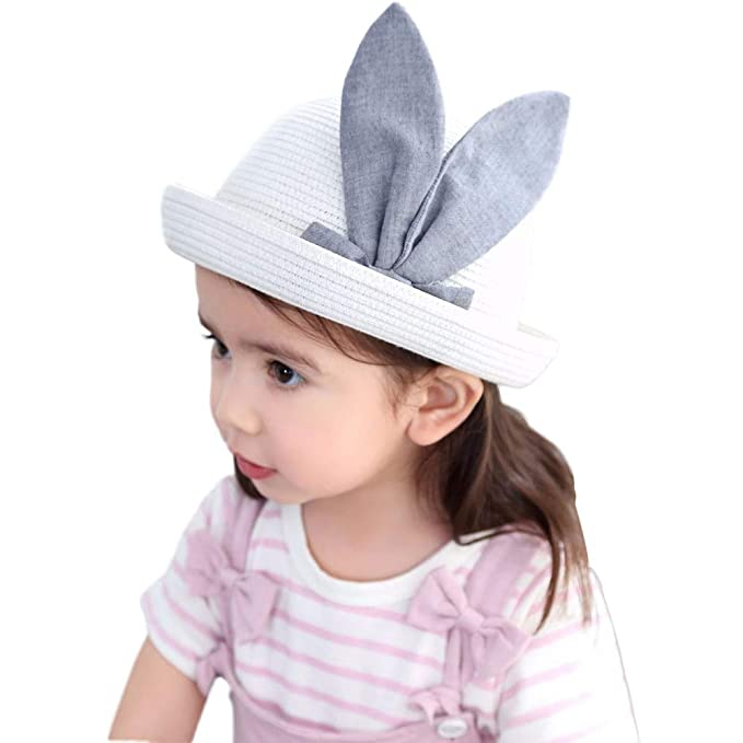 821c37543 Amazon.com: Freecoco Baby Girls Bunny Ear Sun Hat Breathable Straw ...