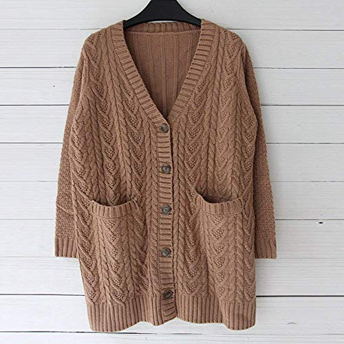 Tasche Outwear Casual Anteriori Giovane neck Monocromo Lunga Maglia Maglieria Moda Comodo A Breasted Single Giacca Camel Maglioni Pullover V Manica Giorno Autunno Donna fHqxwZUa