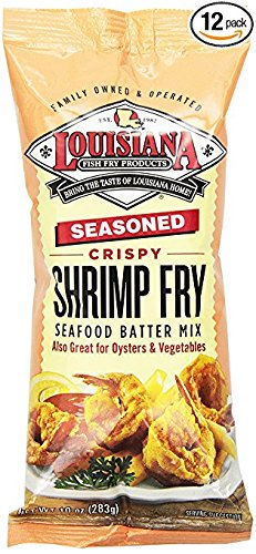 6 pack - Louisiana Fish Fry, Seasoned Crispy Shrimp Fry Seafood Batter Mix, 6-10 ounce bags by Louisiana Fish Fry Products