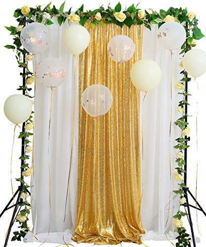 - Gold Sequin Backdrop Curtain 8.8ftx8ft Sparkly Sequin Fabric and White Chiffon Backdrop for Wedding Party Stage Arch Decoration