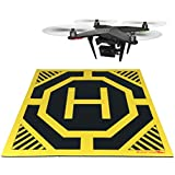 XXL Super Large Drone, Helicopter, Quadcopter Landing Pad - 30 by 30 in - Highly Visible, Protect Your Investment From Debris Sand, Soft Eco-Friendly Rubber, Waterproof Cloth-Neon Yellow-Made in China