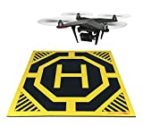 Cheap XXL Super Large Drone, Helicopter, Quadcopter Landing Pad – 30 by 30 in – Highly Visible, Protect Your Investment From Debris Sand, Soft Eco-Friendly Rubber, Waterproof Cloth-Neon Yellow-Made in China