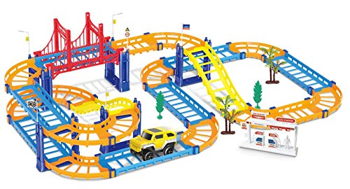 - THE RAILSTYLE Children Educational Kids Electric Slot Car Railway Racing Track - 51 Pieces and one car - Goal Racing DIY Assembly Toy with Race Track and Electric Car for Boys and Girls.