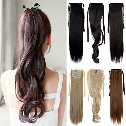 FUT Binding Ponytail One Piece Clip in Straight Pony Tial Hair Extensions Wrap Around 22inch 100g for Girl Lady Women Dark Brown
