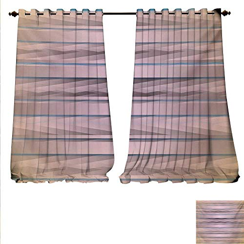 familytaste Blackout Draperies for Bedroom Earth Toned Fractured Zig Zag Dimensions Horizontal Lines Flat Type Artwork Print Blackout Window Curtain W72 x L108 Taupe Teal.jpg