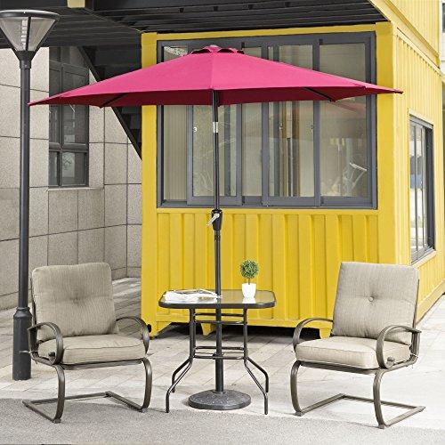 Wrought Iron Table Base (Cloud Mountain 4 Piece Patio Bistro Set Outdoor Patio Umbrella Patio Furniture Set Wrought Iron Bistro Sets Tempered Glass Square Table, Gradient Brown Tan)