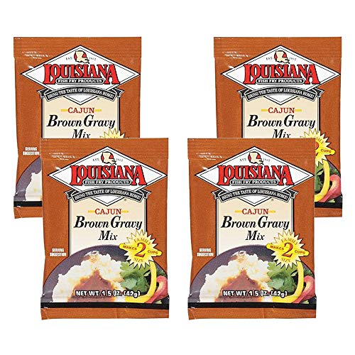 1.5 Oz Louisianna Fish Fry Products Brown Gravy Mix, Cajun, Pack of 4