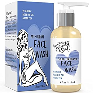 Face Wash & Facial Cleanser - For Normal, Oily & Dry Skin To Deep Clean Pores Gently - 72% Organic – Vitamin C & E, Aloe Vera, Rose Hip Oil, Green Tea & Borage Oil - Acne Prewash - 4 oz Concentrated