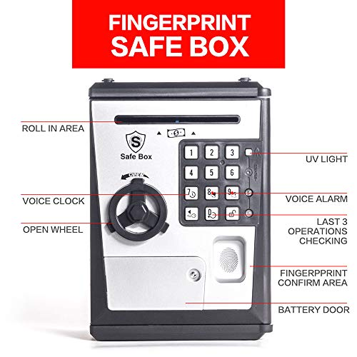 LIKE Toy Piggy Bank Safe Box Fingerprint ATM Bank ATM Machine Money Coin Savings Bank for Kids by LIKE (Image #3)