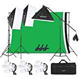 Andoer 6.6ft x 10ft Background Support System and Photography Stuido Lighting Kit, Including 3pcs Backdrops(White/Black/Green) Screen with 3pcs 20x28 Inch Softbox for Video, Portrait, Product Shoot