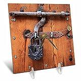 3dRose Danita Delimont - Architecture - Spain, Balearic Islands, Mallorca, door bolt and lock. - 6x6 Desk Clock (dc_277913_1)