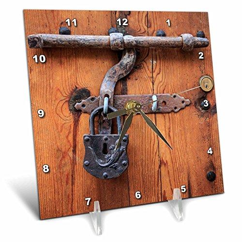 3dRose Danita Delimont - Architecture - Spain, Balearic Islands, Mallorca, door bolt and lock. - 6x6 Desk Clock (dc_277913_1) by 3dRose