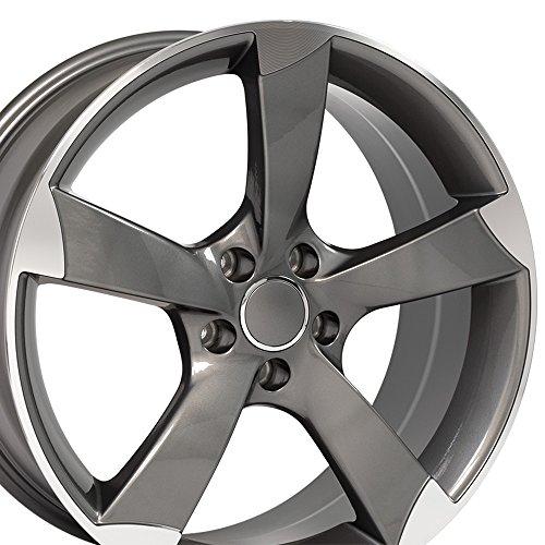 OE Wheels 19 Inch Fits Volkswagen CC Beetle Audi A3 A8 A4 A5 A6 TT S4 Style AU29 Gunmetal Machined 19x8.5 Rim Hollander 58867 ()