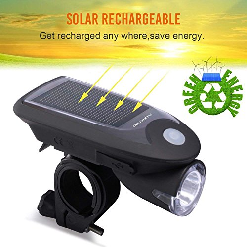 Toplife Solar Bike Light Set, USB Rechargeable Waterproof LED Bicycle Lights Front and Rear, Headlight and Taillight Combo for Outdoor Cycling Safety-with Bike Light Mount Holder by Toplife (Image #1)