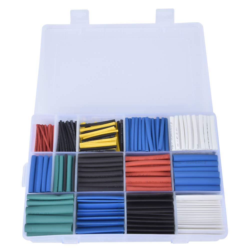 kit de tubo termocontra/íble de poliolefina de 670 piezas Tubo termorretr/áctil surtido de mangas de protecci/ón de aislamiento de cable de alambre impermeable con estuche de almacenamiento