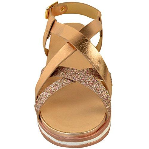 Fashion Thirsty Heelberry® Ladies Womens Low Flat Heel Espadrilles Sparkly Summer Strappy Sandals Shoes SZ Rose Gold Metallic t56UepSKgK