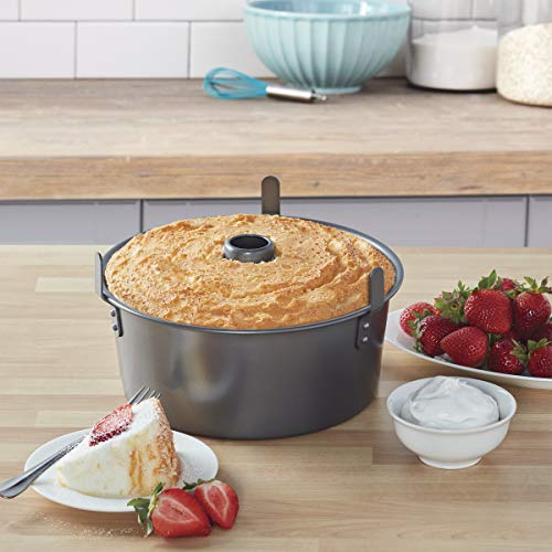 "Chicago Metallic 16184 Professional 2-Piece 9.5-Inch Angel Food Cake Pan with Feet, 9.5"" x 4"