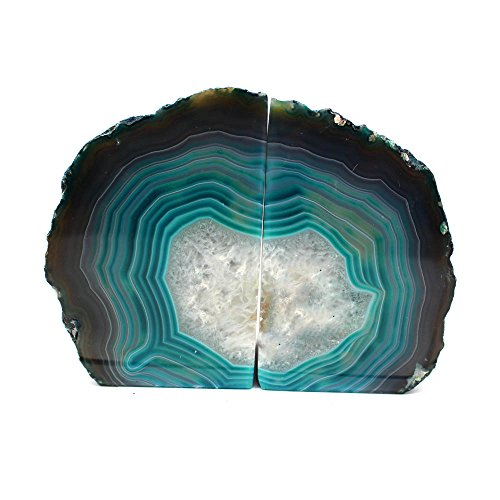 Teal Agate Bookend Pair - 1 to 3 lb - Geode Bookend with Rock Paradise Exclusive COA ()
