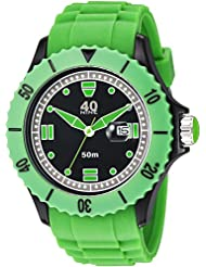 40Nine Mens Quartz Plastic and Silicone Casual Watch, Color:Green (Model: 40NINE01/GREEN10)
