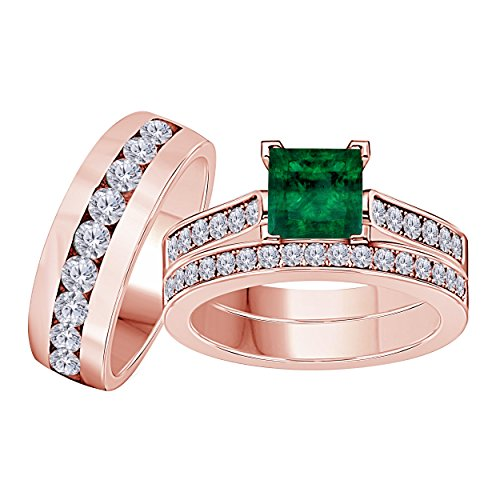 Silver Gems Factory His Her 3.00 Carat Synthetic Green Emerald Princess Cut & Round CZ Diamond 14k Rose Gold Finish Mens Womes Engagement Wedding Ring Set Trio