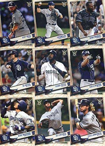 (2019 Topps Big League Baseball San Diego Padres Team Set of 12 Cards: Austin Hedges(#3), Travis Jankowski(#101), Joey Lucchesi(#111), Manny Machado(#168), Hunter Renfroe(#176), Franmil Reyes(#194), Wil Myers(#217), Luis Urias(#284), Eric Hosmer(#321), Manny Margot(#322), Ian Kinsler(#332), Kirby Yates(#333))