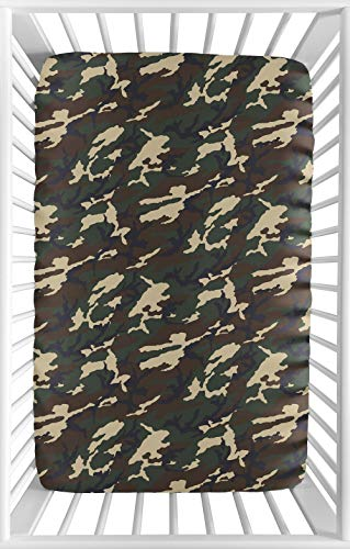 Sweet Jojo Designs Green and Beige Camouflage Baby Boy Fitted Mini Portable Crib Sheet for Woodland Camo Collection - for Mini Crib or Pack and Play ONLY