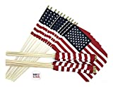 3 Dozen 12″x18″ US Stick School Classroom Flags Made in The USA, American Made 12×18 Flag is Mounted on a 30″ Wood Staff, Beautiful Colors Review