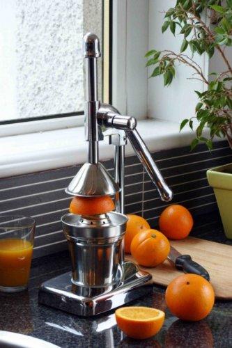 Retro exprimidor manual acabado cromado jugo de naranja