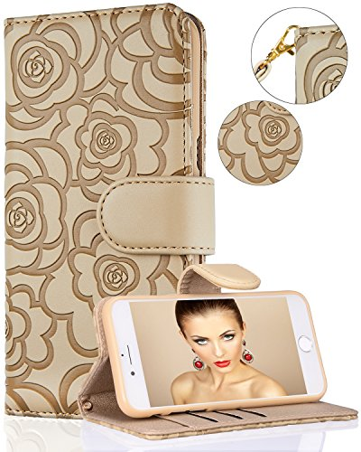 Samsung S8 Case,Galaxy S8 Wallet Case, FLYEE Premium PU Flip Wallet Leather [kickstand] [Emboss Flower] Magnetic Protective Cover with Card Slots and Detachable Wrist Strap for Samsung Galaxy S8 Beige