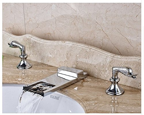 Gowe Deck Mounted Bathroom Sink Faucet Double Handles Widespread 3pcs Mixer Tap Chrome Fonished 0