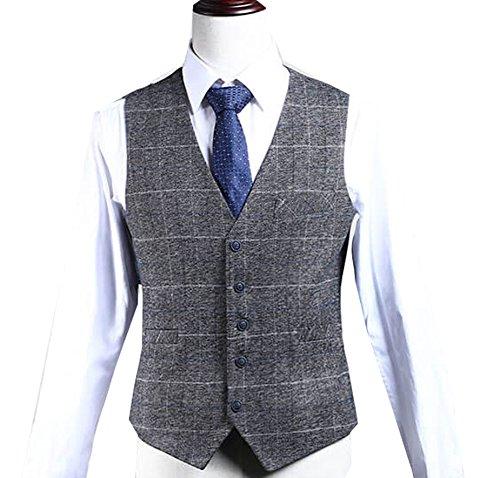 Mens Premium Wool Blend Tweed Herringbone Check Plaid 5 Buttons Waistcoat Suits Vest,m,Gray