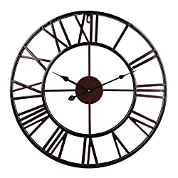 PeleusTech® Wall Clock, 20-inch Dia Large Iron Metal Vintage Retro Indoor Wall Clock with Roman Numerals - (Wine Red)