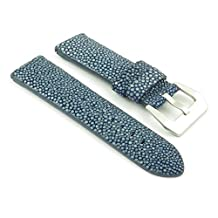 DASSARI Offshore Exotic Blue Genuine Polished Stingray Watch Band size 26mm 26/24