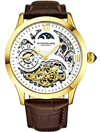 Stührling Original Mens Gold Tone Stainless Steel Automatic Watch, White Skeleton Dial, Yellow Gold Accents, Dual...