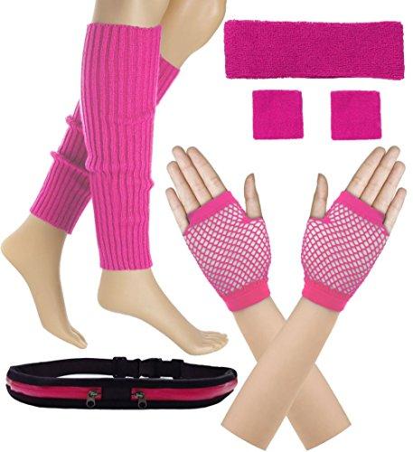 Women 80s Set Neon Knit Headband Wristbands Leg Warmers (Hot Pink)