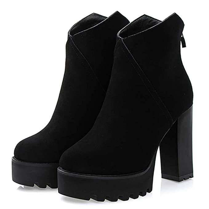 Botas de Invierno Para Mujer Tejido Escarchado 10cn Plataforma Impermeable de Tacón Alto Martin botas de Moda con Botines,Black,EU38/UK4.5: Amazon.es: Ropa ...