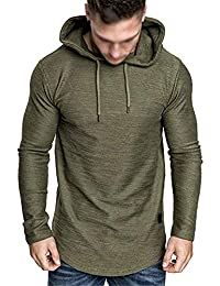 Men's Fashion Athletic Hoodies Gym Running Sweatshirt Outdoor Sports Fleece Pullover Workout Long Slevee Shirts