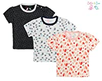Sofie & Sam Organic Cotton 3 pack Combo Baby Tees - Glittering Hearts, Starry & Leaf