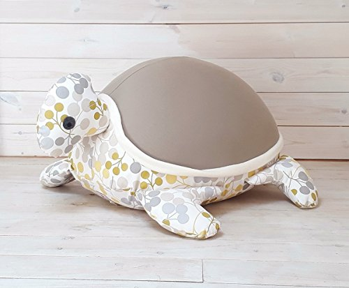 Kids Baby bean bag Floor pillow Giant animal shaped turtle Bean bag longer mocha green color with an internal pillow by Pockets Baby & kids